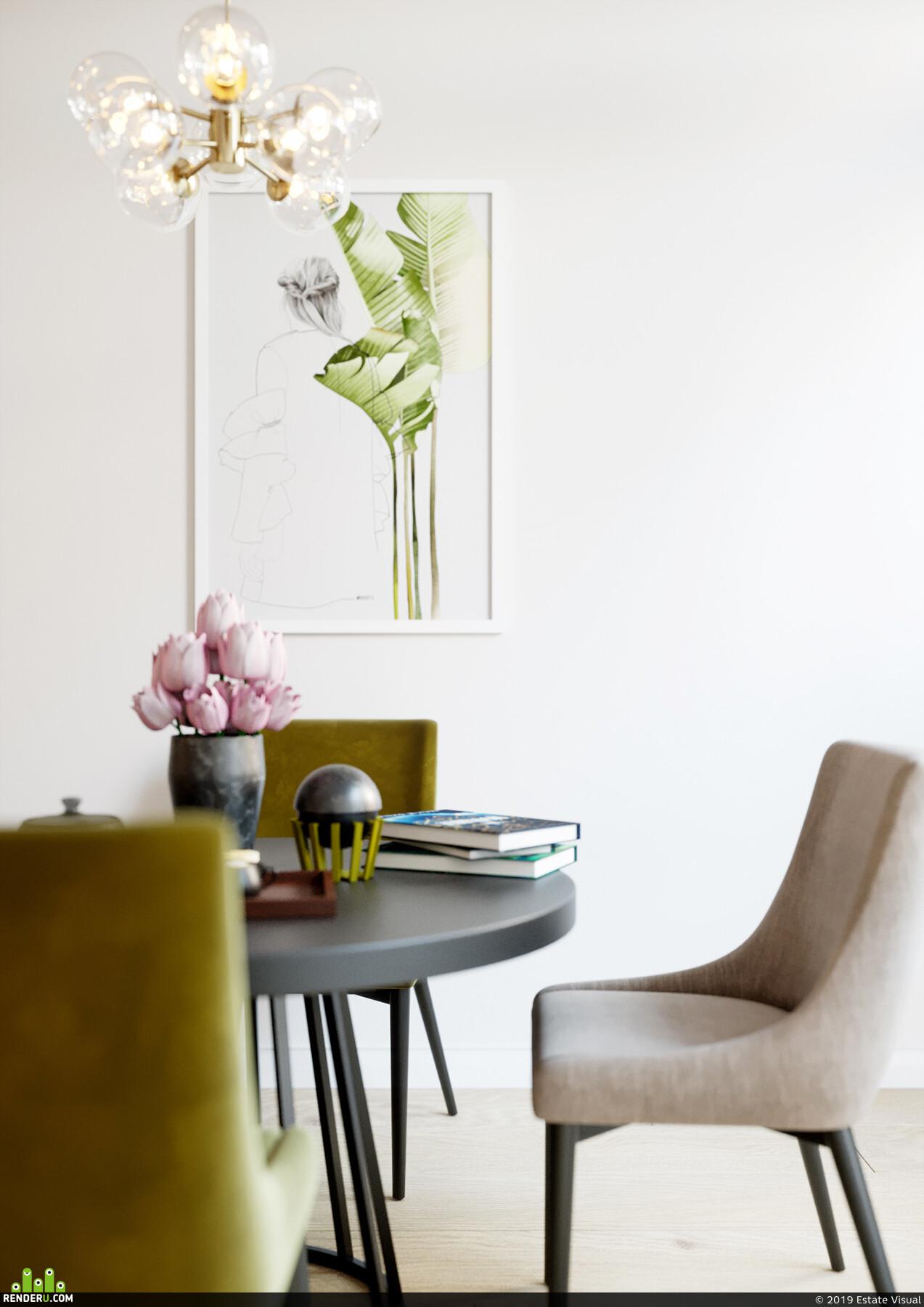 интерьер, цветы, картины