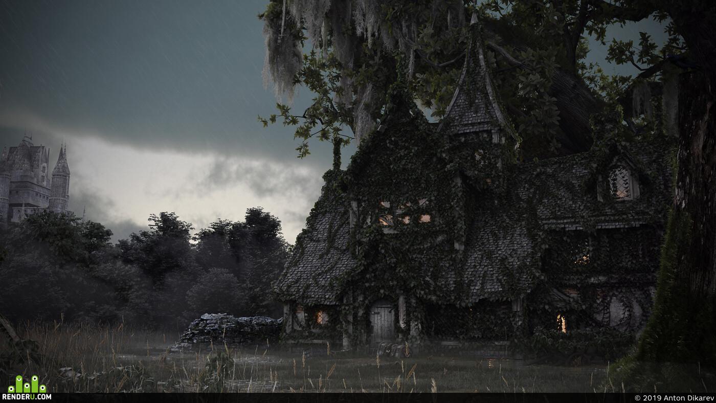 таверна, болото, лес, хижина, замок, плющ