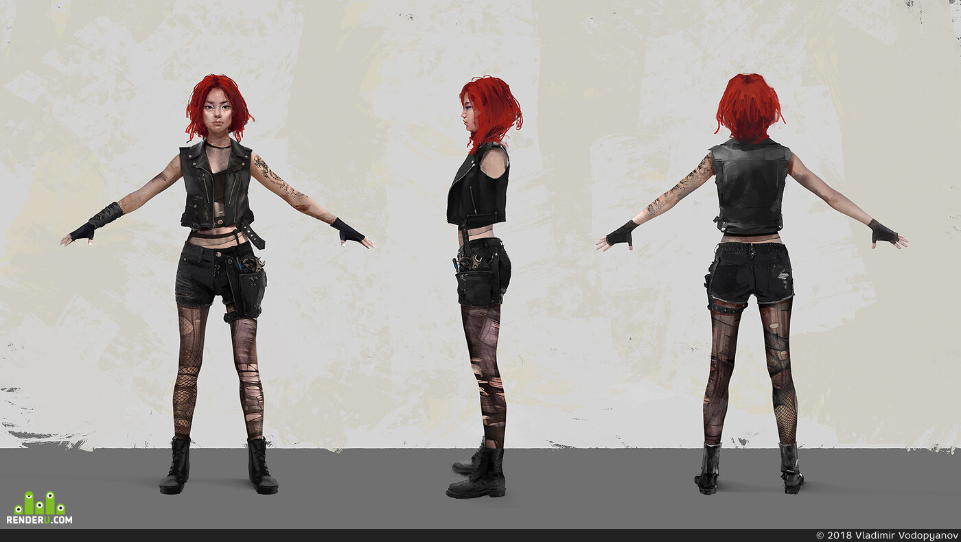 Character, concept-art, girlmechanic