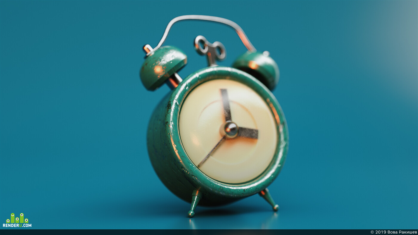 alarm, clock, Cinema4D, OctaneRender, Adobe After Effects, ae, photo, realistic, 3d, substance painter