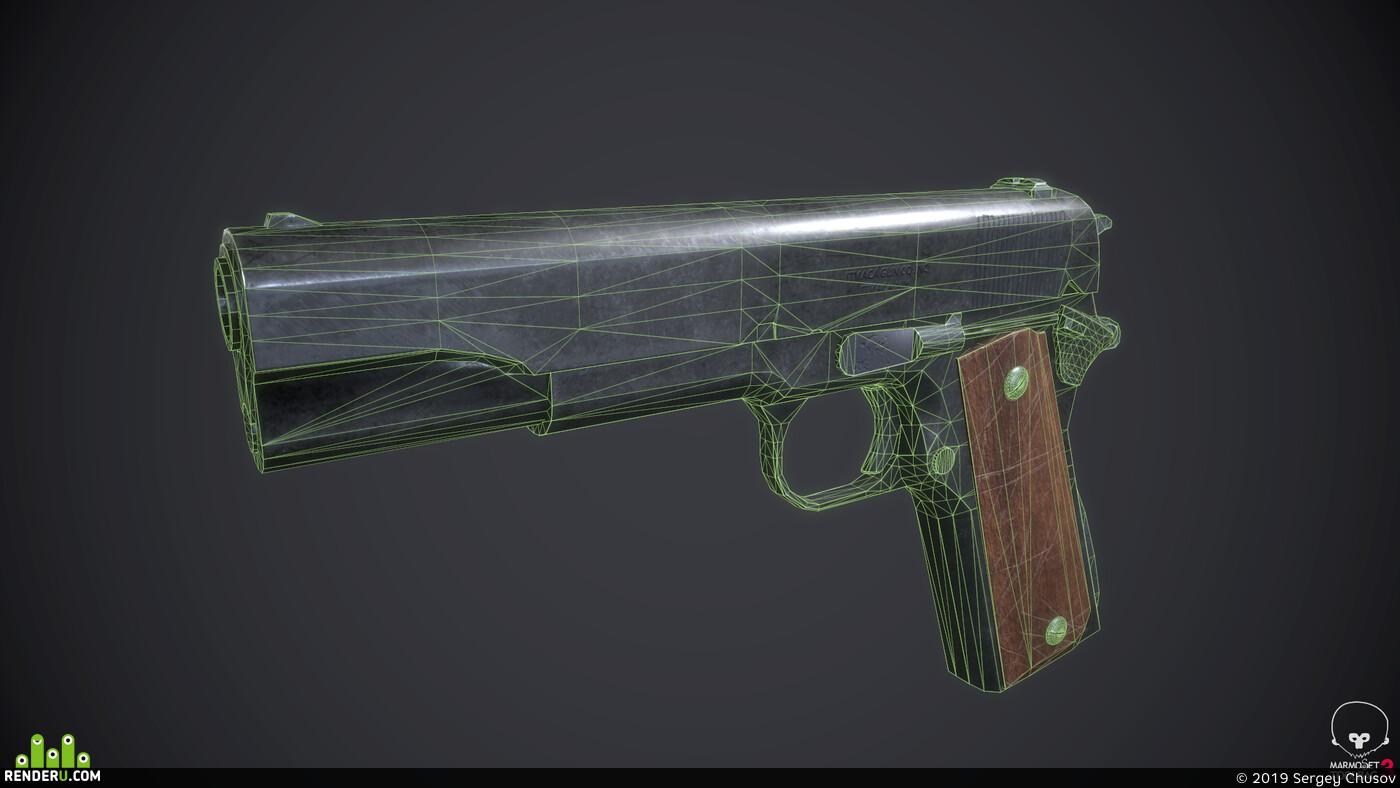 gun, low-poly, Modo, substance painter