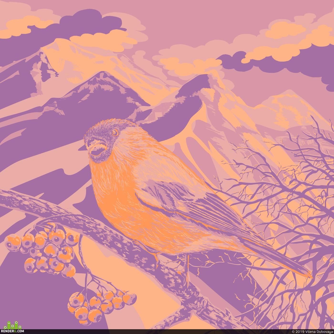 снегирь, птица, ветка, рябина, горы, облака, дерево, Пейзаж