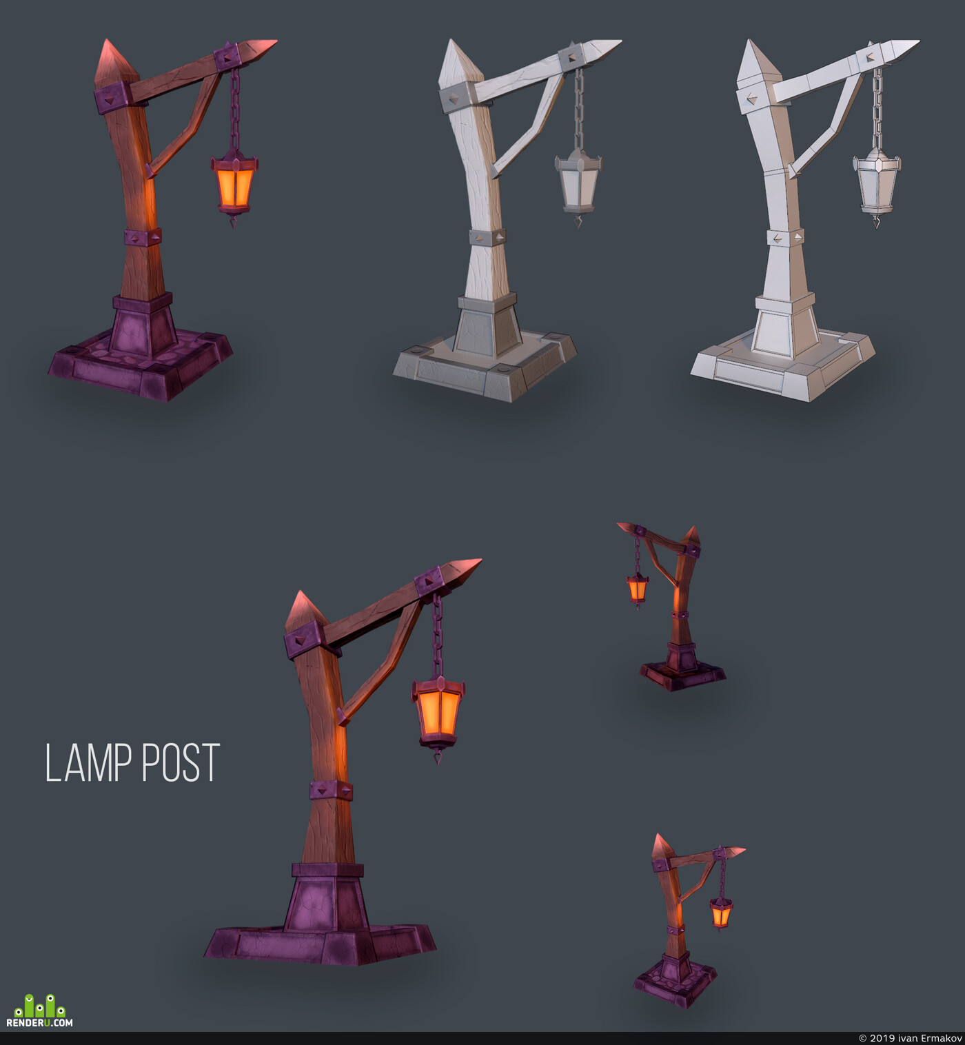 lAMP POST, 3D Studio Max, substance painter, gamedevelopment