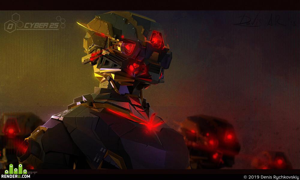 DenisAR, robot, cyborg, sci-fi, concept-art