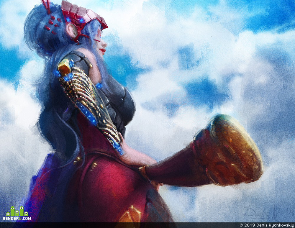 DenisAR, girl, red, cyborg, sci-fi, Concept Art, концепт