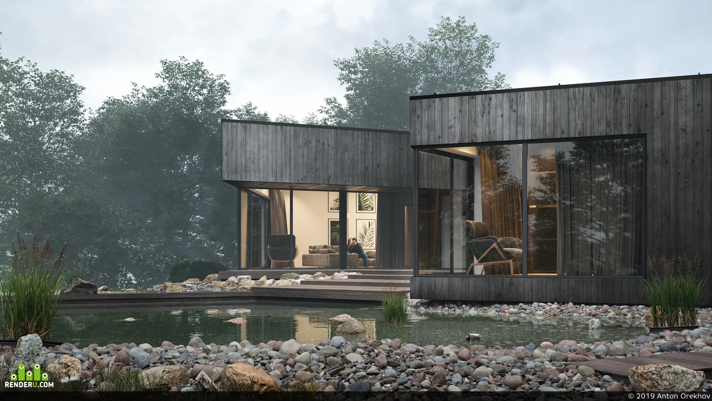 3D Studio Max, 3ds max, 3D архитектура, Corona Renderer, corona 2, Чёрный дом, закат, туман, Вечернее освещение