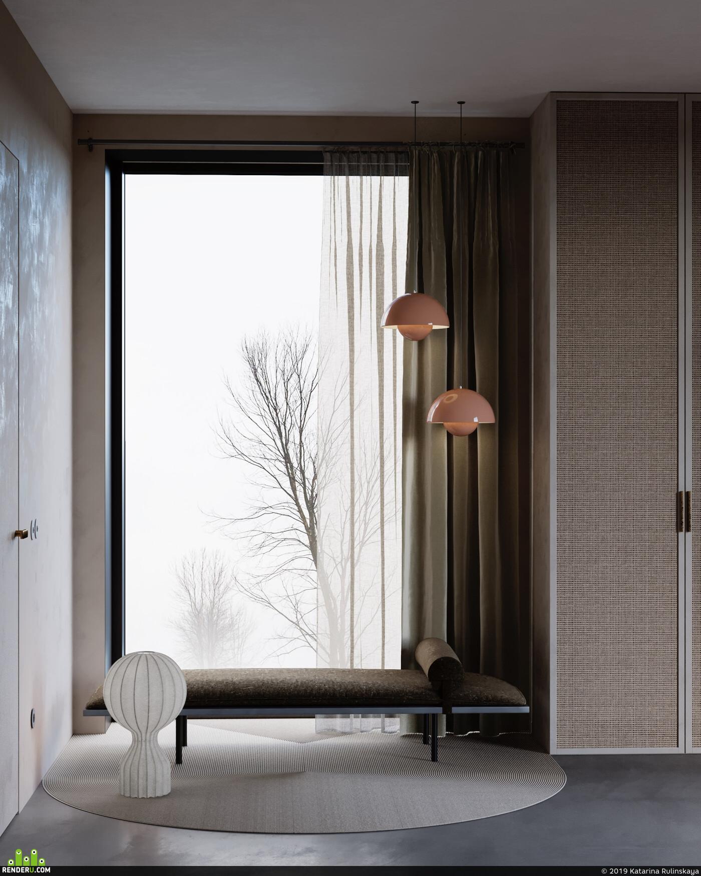дерево, бетон, атмосфера, интерьер, зима, свет