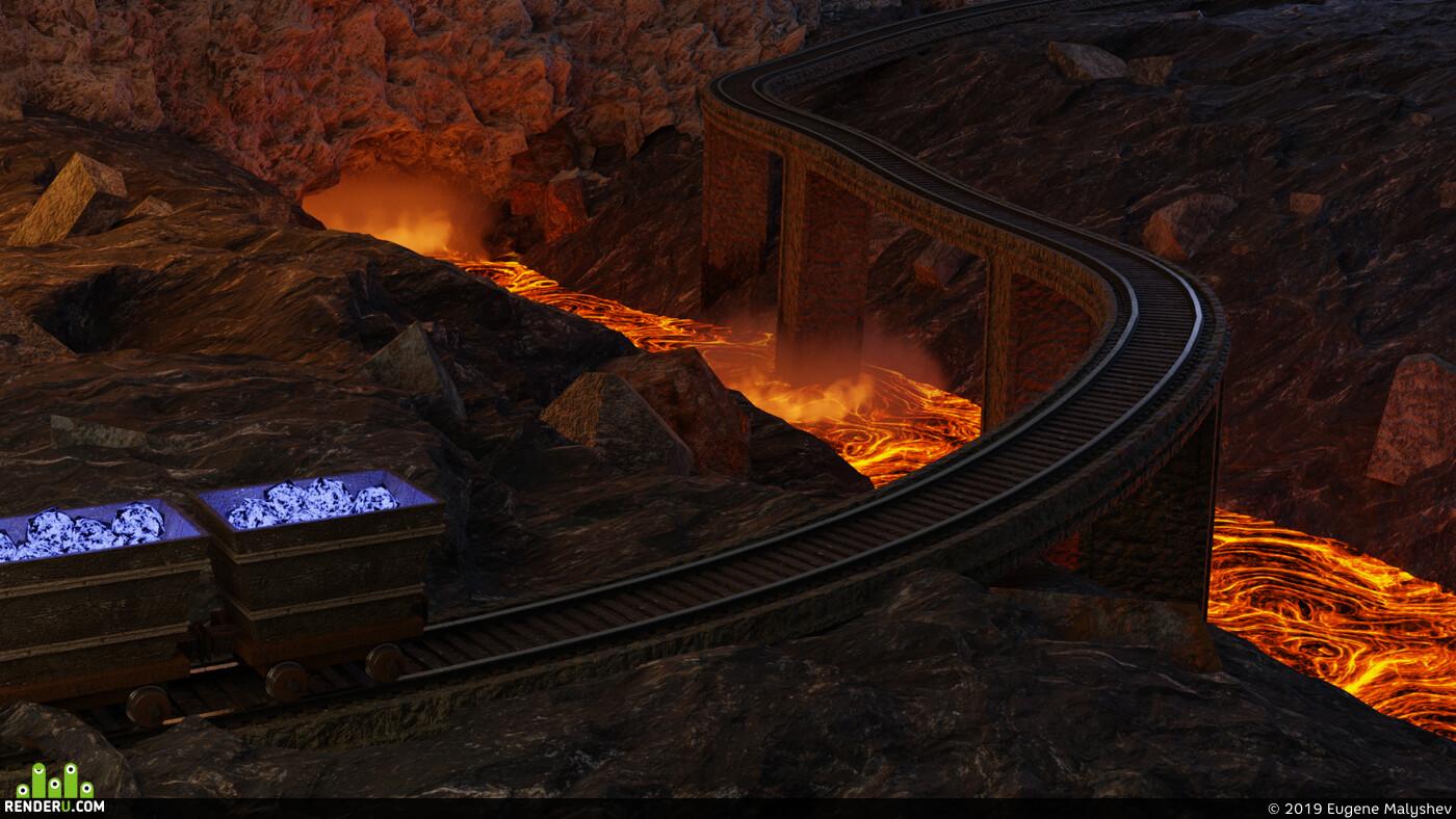 шахта, вагонетка, рельсы, ж/д, Лава, огонь, мост