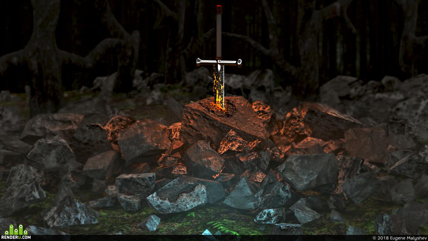 меч, лес, камень, sword, blender3d