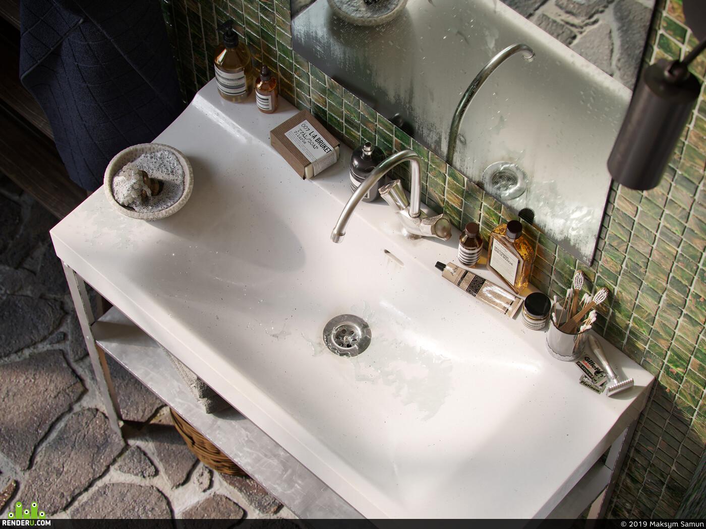 ванная комната, коронарендер, интерьер, визуализация, Интерьерная визуализация
