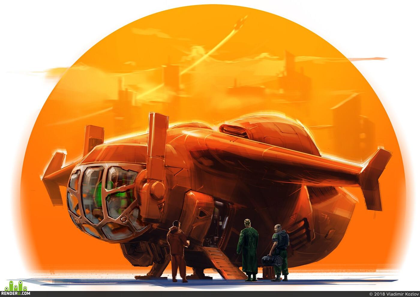Концепт-арт, Корабли, Космический корабль, научная фантастика
