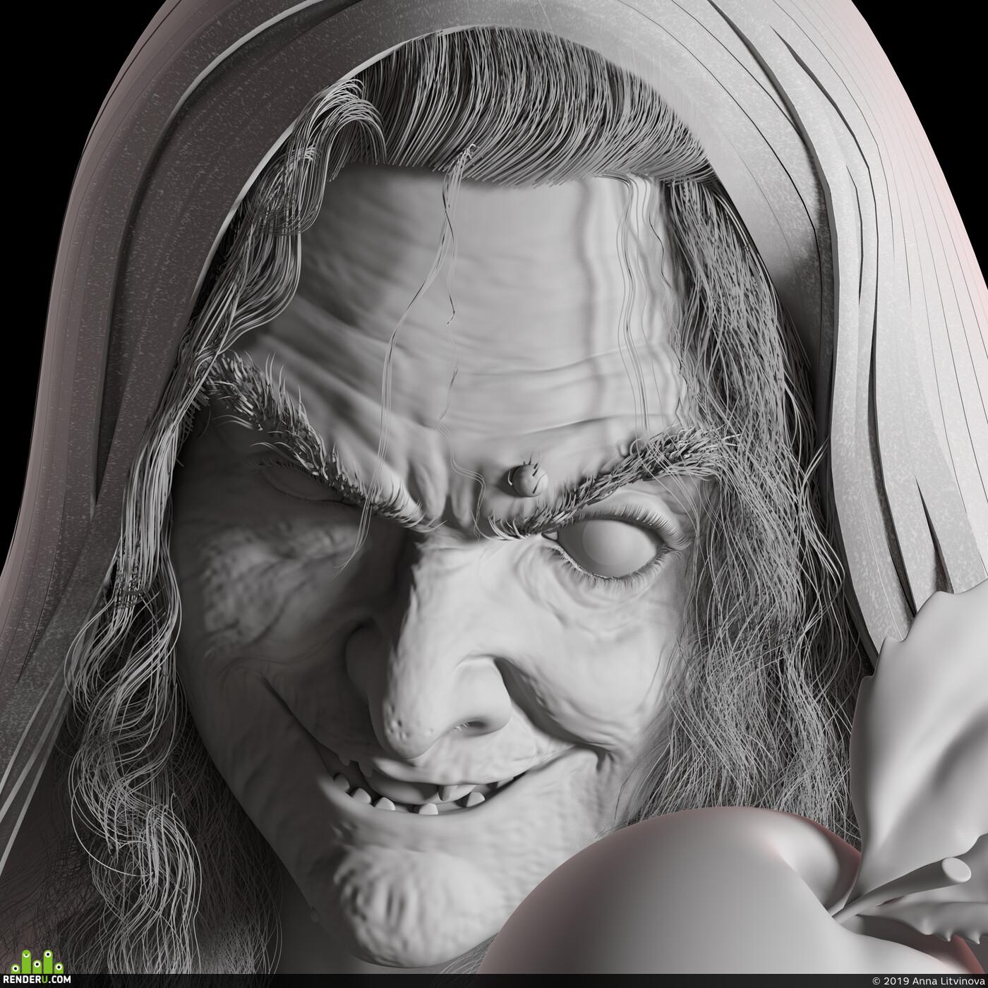 ведьма, 3д, 3д моделирование, лицо, Персонаж, женщина, старуха