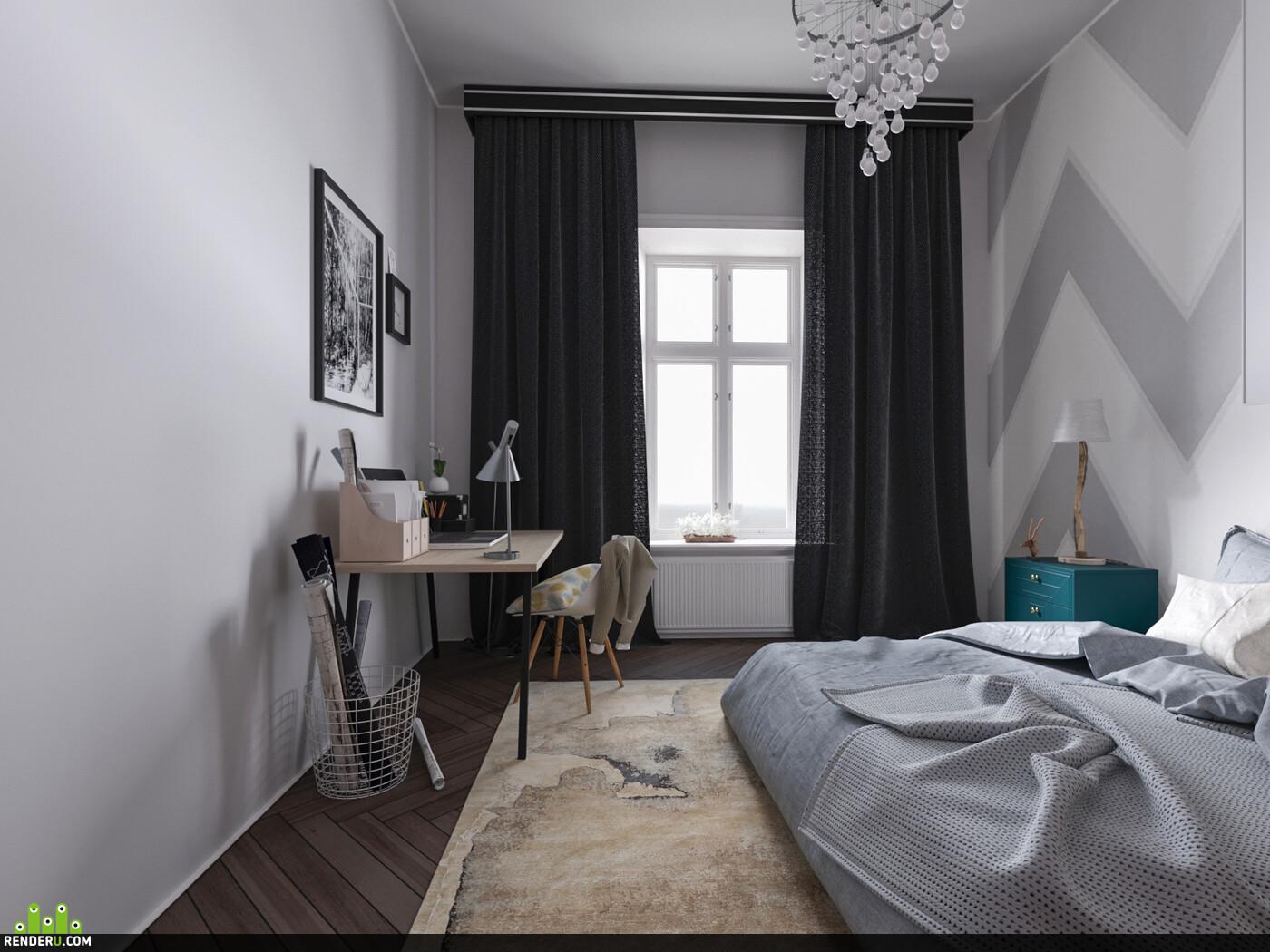 интерьер, Спальня, скандинавский стиль, дизайн, кровать, комната, дизайн спальни, дизайн интерьера, interior interior design design 3D 3D Studio Max 3D архитектура интерьер дизайн интерьера интерьер, visualization