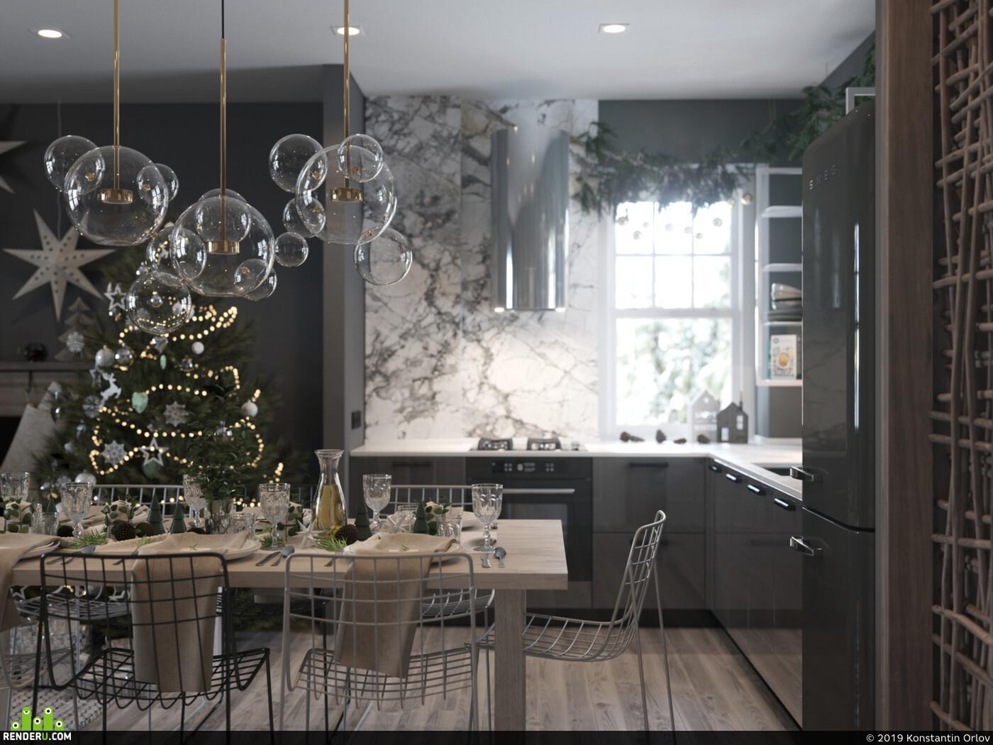 кухня, новый год, рождество, smeg