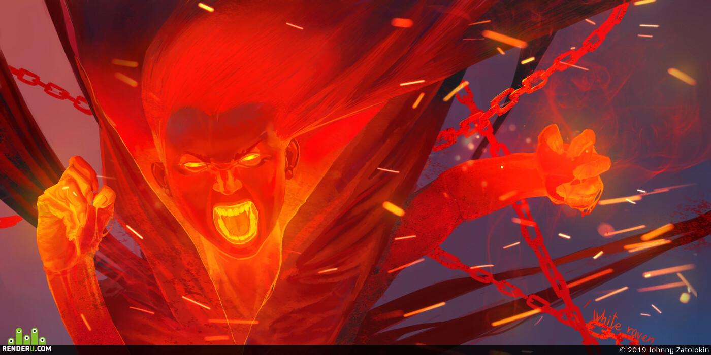 ярость, девушка, огонь, Эмоции, гнев, элементаль, демон