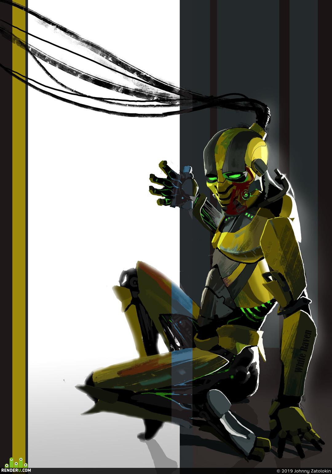 Роботы, киборг, убийца, ниндзя, Сайрекс, Смертельная битва, фанарт, Боевая фантастика, Фантастика, научная фантастика