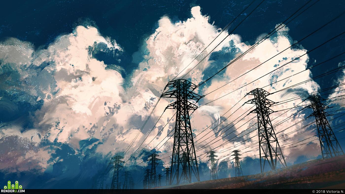Пейзаж, облака, небо