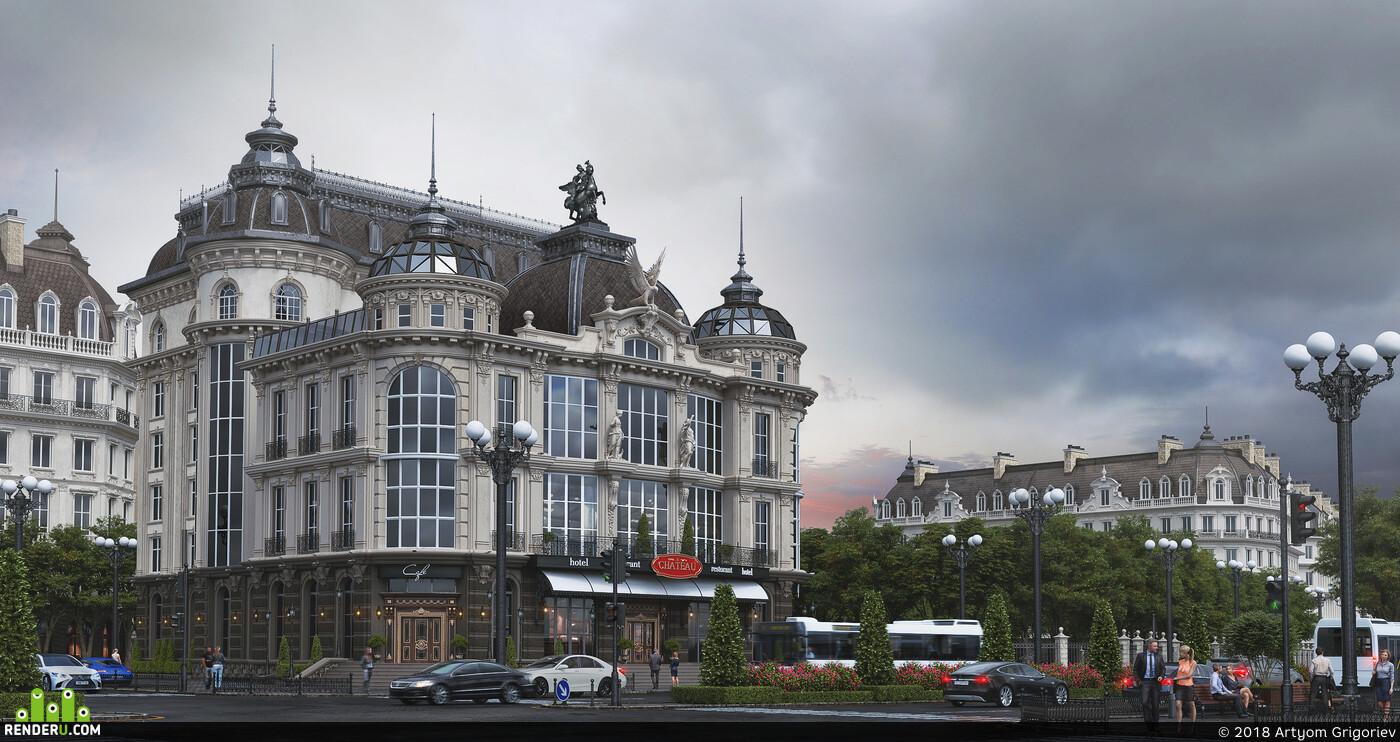 Chateau, classic architectute, renovation, fasad design, architectural conception, street design, Exterior 3d visualization Corona Renderer corona 1.7 coronarenderer