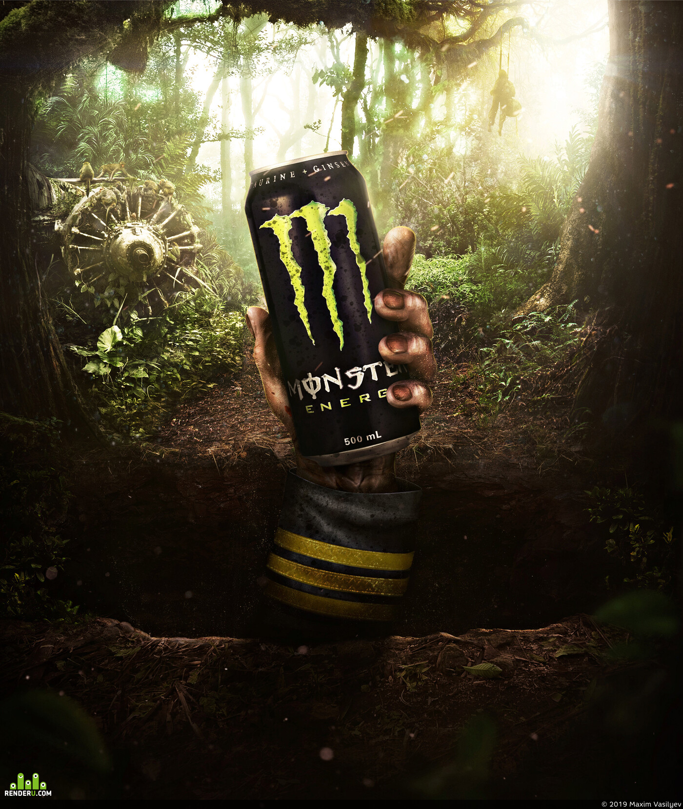 monster, energy drink, Зомби, джунгли, самолет, рука