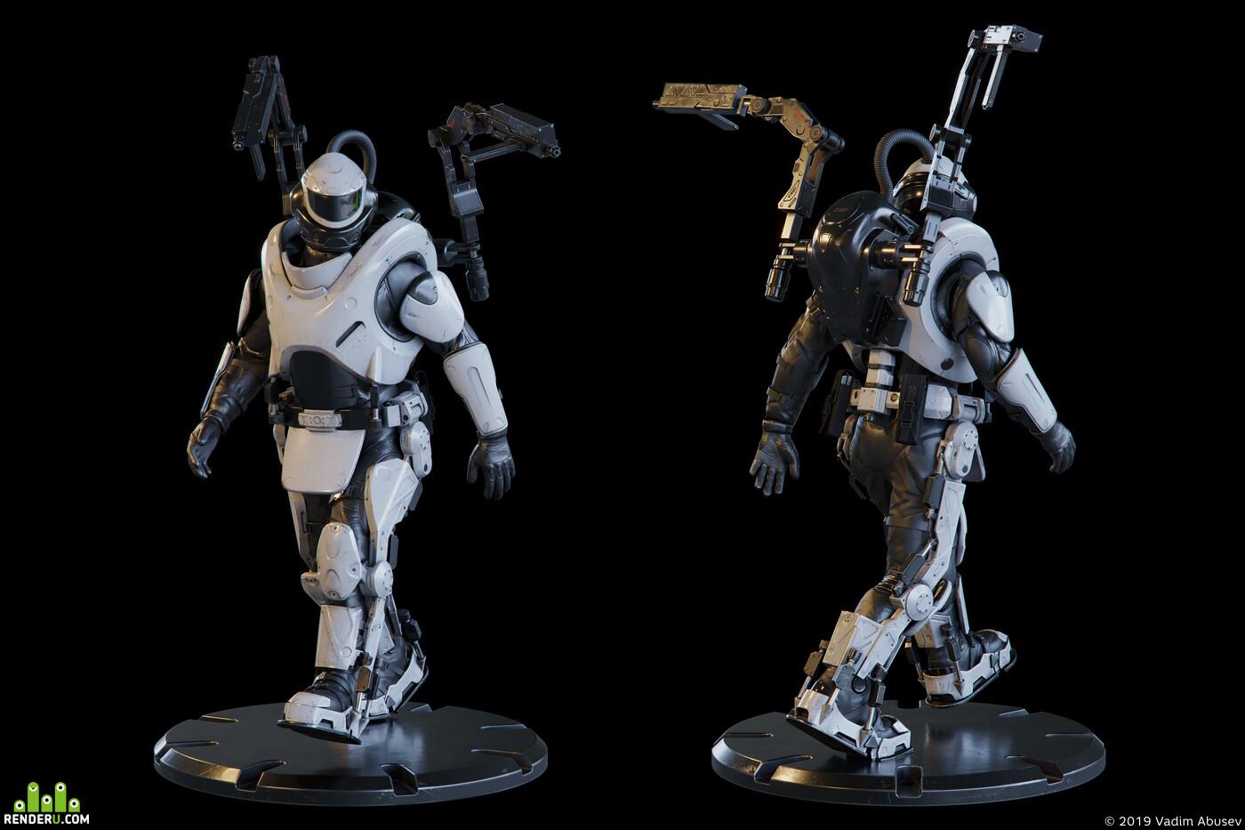 sci-fi, ratnik, Exoskeleton, suit, gun, lowpoly, PBR, military, heavy, character