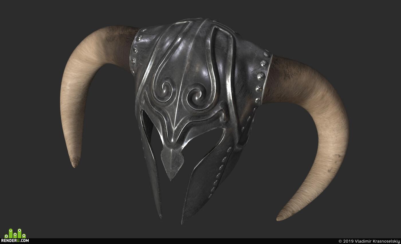 helmet, steel, horns, military, armor
