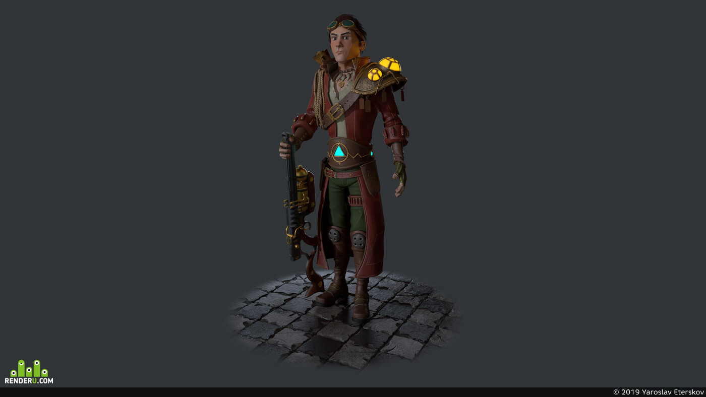 Game Low-poly, Animation, steampunk, 3d characher