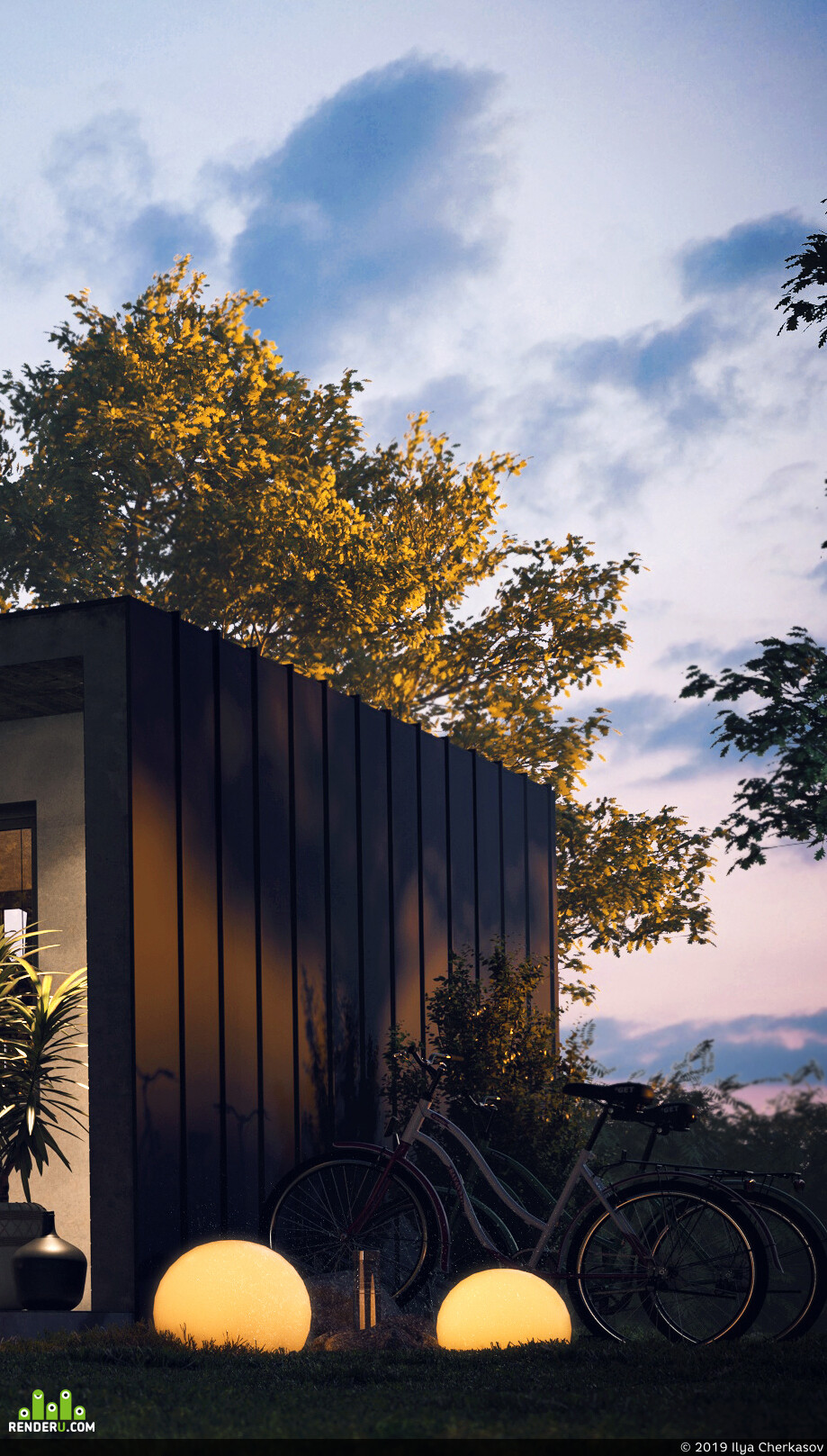 house, private house, modern house, People, Exterior, evening, forest, house in the forest, biker, Car / motorcycle