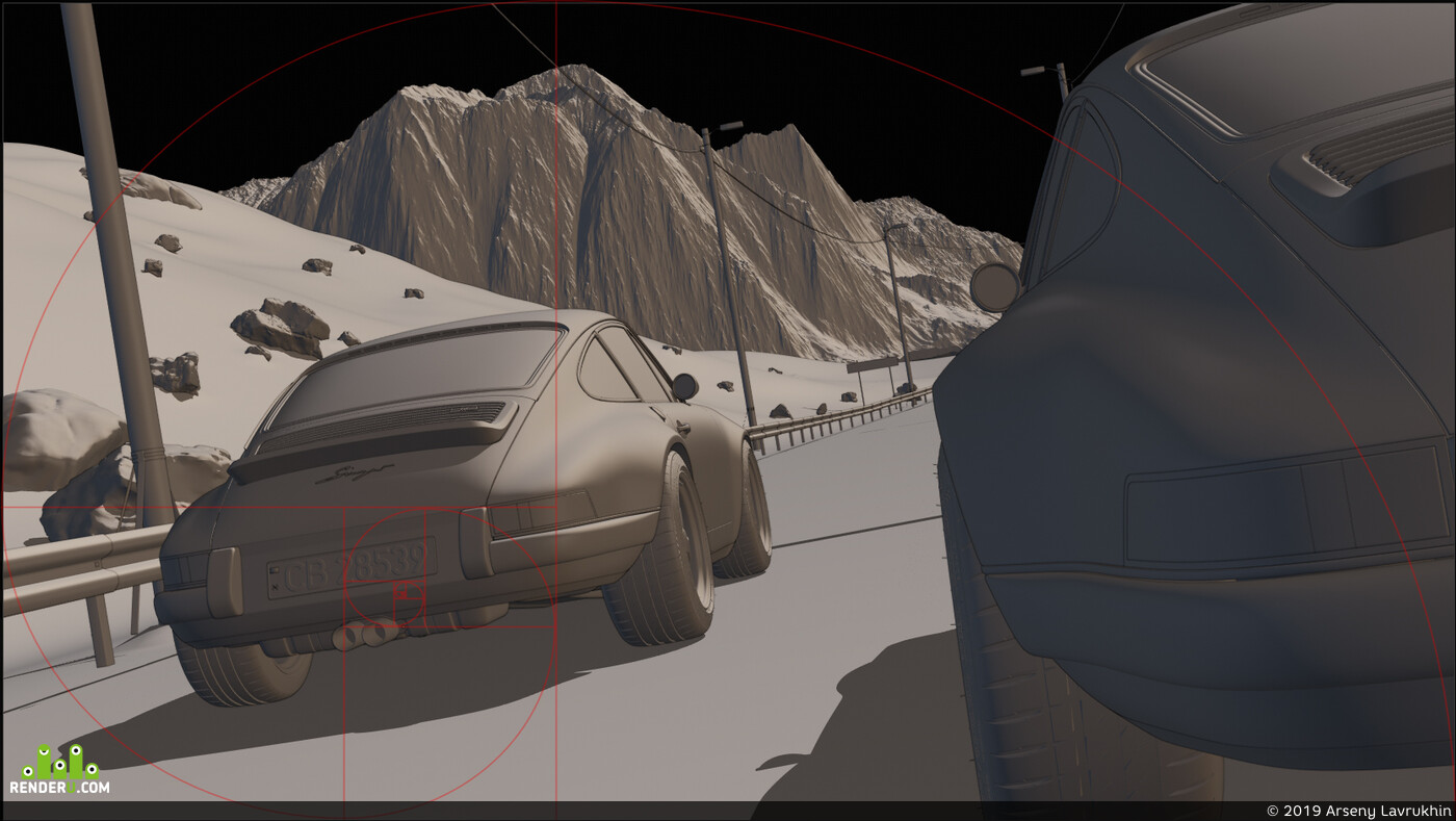 Blender, Blender 2.8, Blender 3D, cars, automotive, porsche, 911, singer, Порше, горы