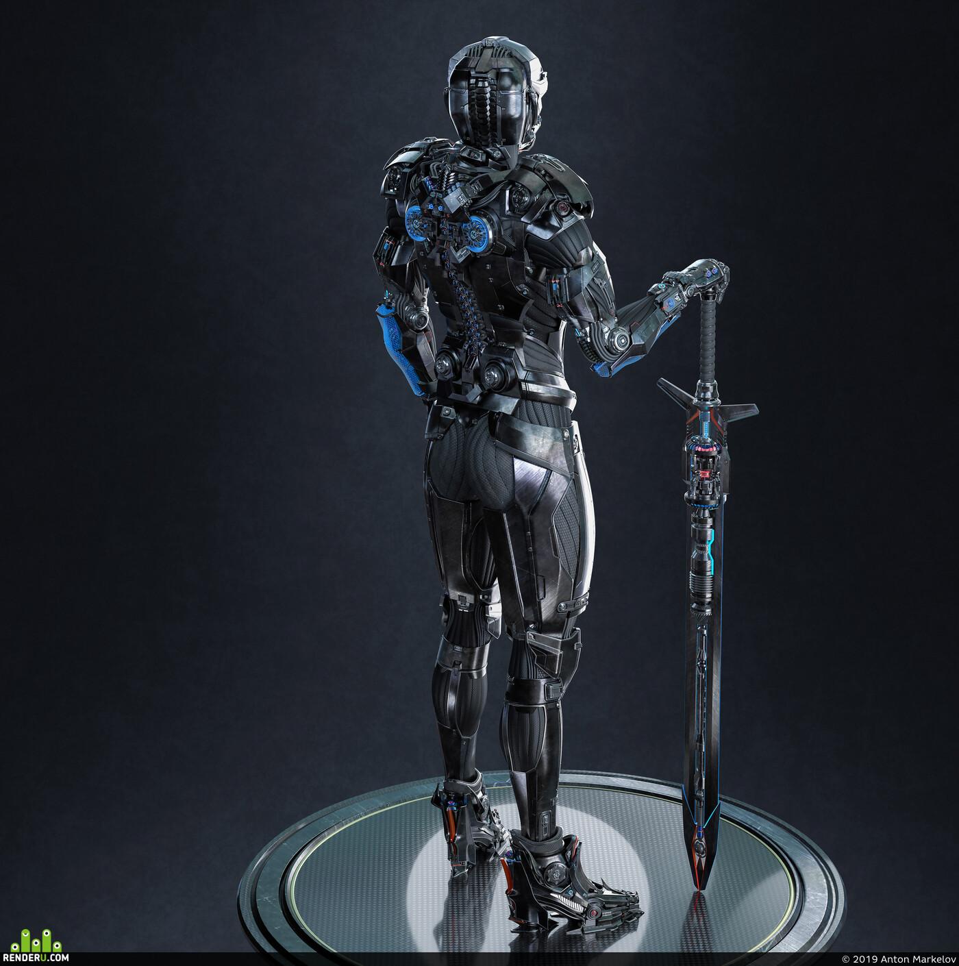 sci-fi armor, sci-fi, power armor, cyborg girl, cyborg, robot, elfgirl, high poly, polygonal modeling, character