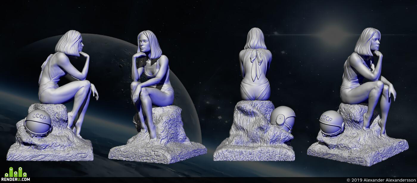 ZBrush, Blender, 3d print, Космос, космическая девушка, 3D Печать, 3д моделирование, 3d модель