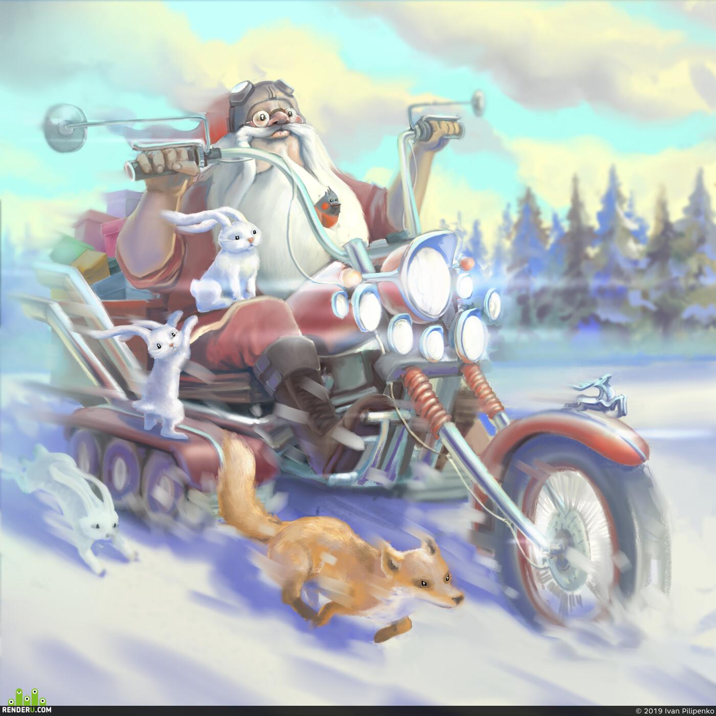 санта-клаус, новый год, Иллюстрация, праздник, подарки, дед мороз, цифровая живопись, Цифровой 2d, цифровое искусство, Компьютерная графика/CG