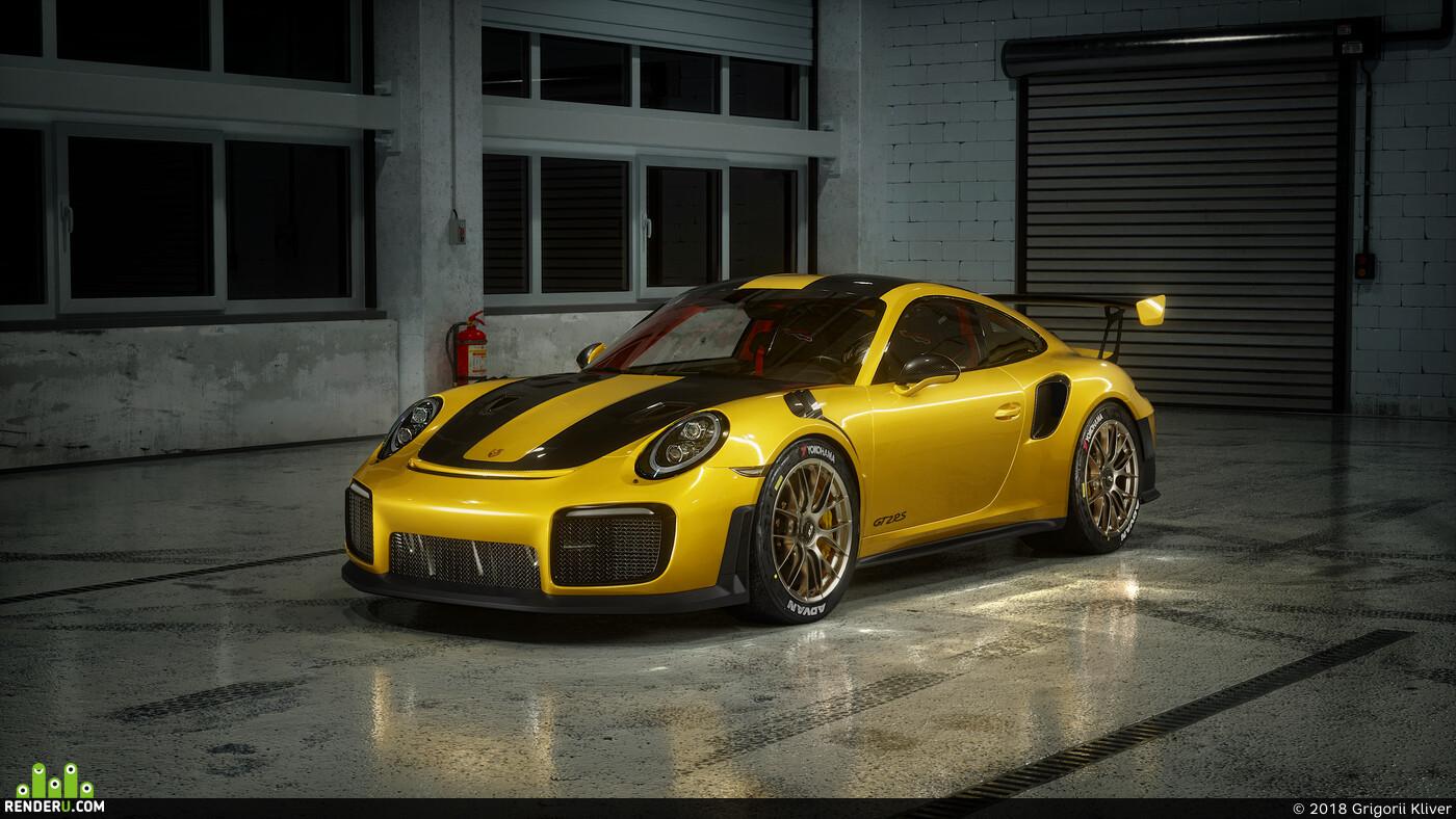 porsche, 911, GT2 RS, Corona Renderer, 3ds max, cars