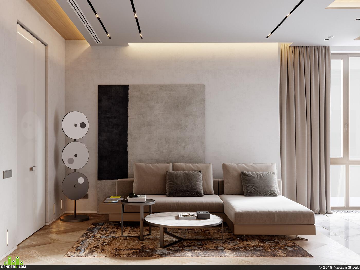 апартаменты, дизайн интерьера, визуализация, vizlinestudio, архитектурная визуализация