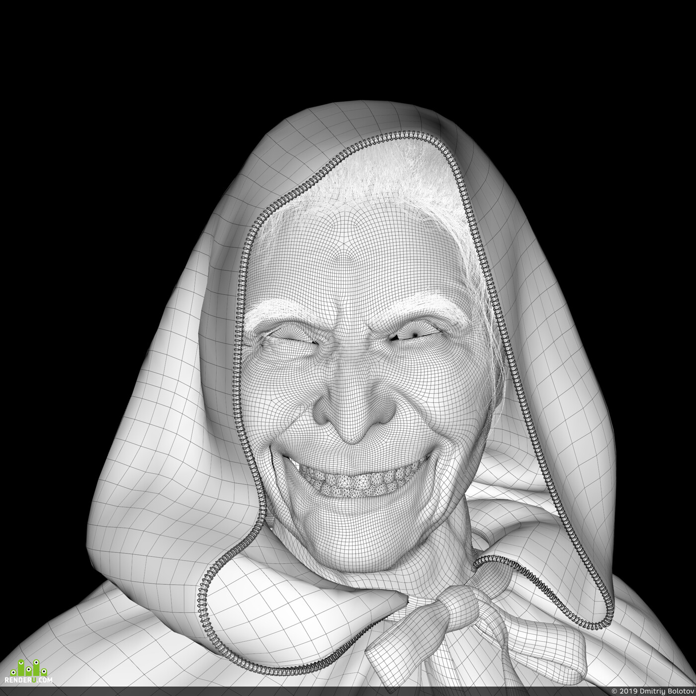 3d portrait, design_character, 3d character, old woman, witch, realistic, photorealism