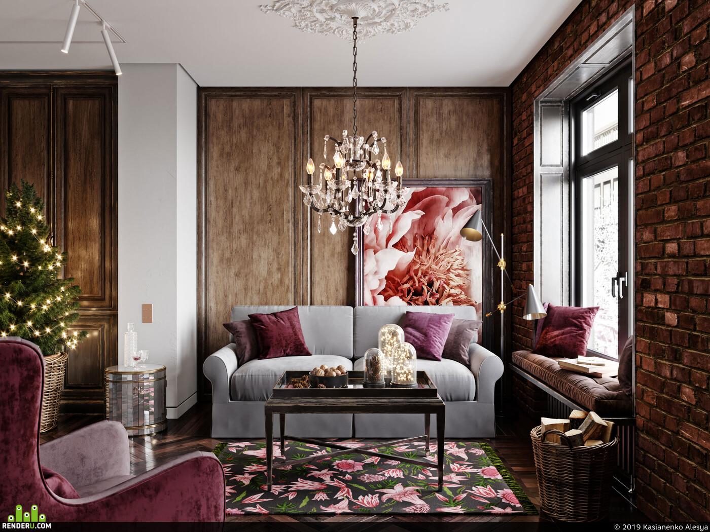 современная классика, лепнина, дерево, кирпич, интерьер, дизайнинтерьера, визуализация интерьеров, эклектика, камин, классика