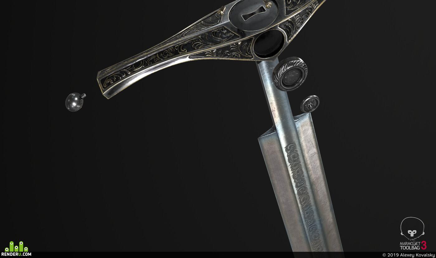 digital 3d, game art, weapons, 3d, weapon, 3Dsmax, ZBrush, 3dcoat, substance, sword