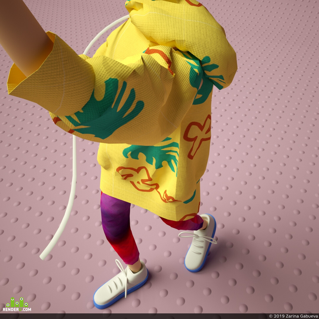 ананас, желтый, розовый, 3д персонаж