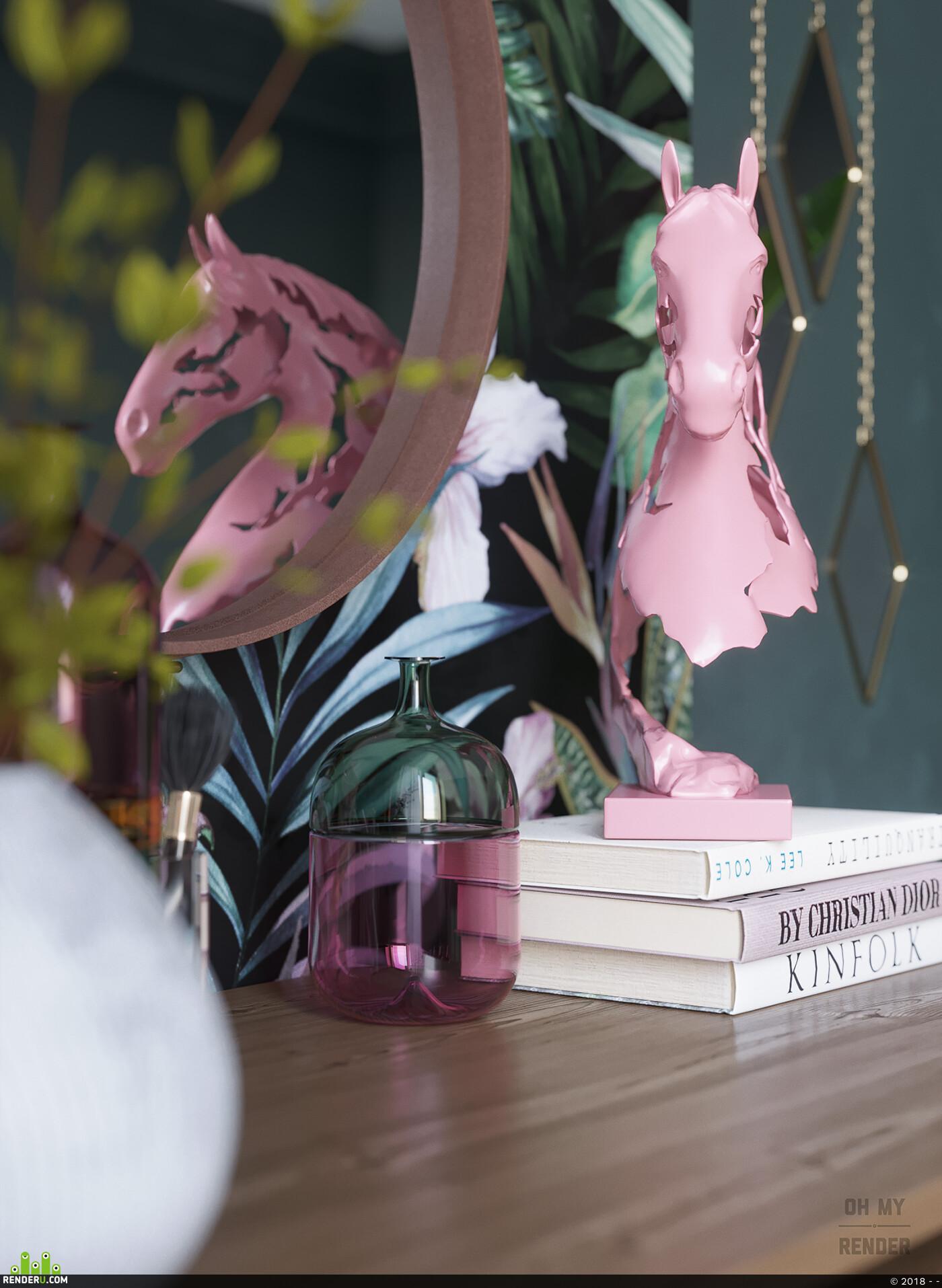 пальмы, туалетныйстолик, розовый