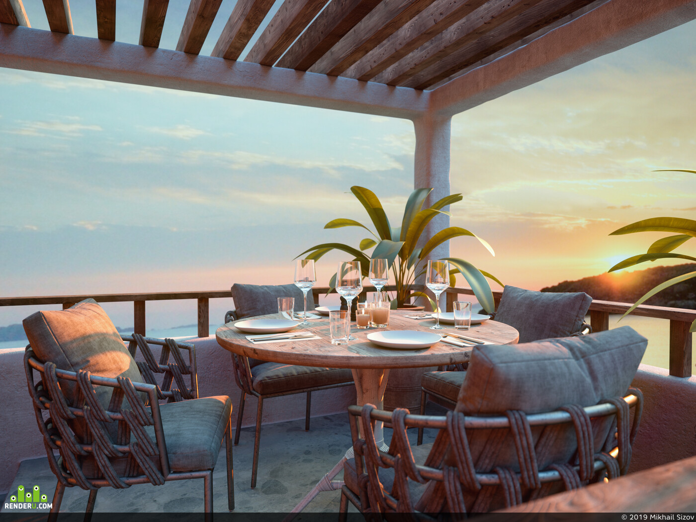 cafe, rattan chair, terrace, rattan lamp, extexterior, armchair, design, wood table, Architectural3Dvisualizer, interior