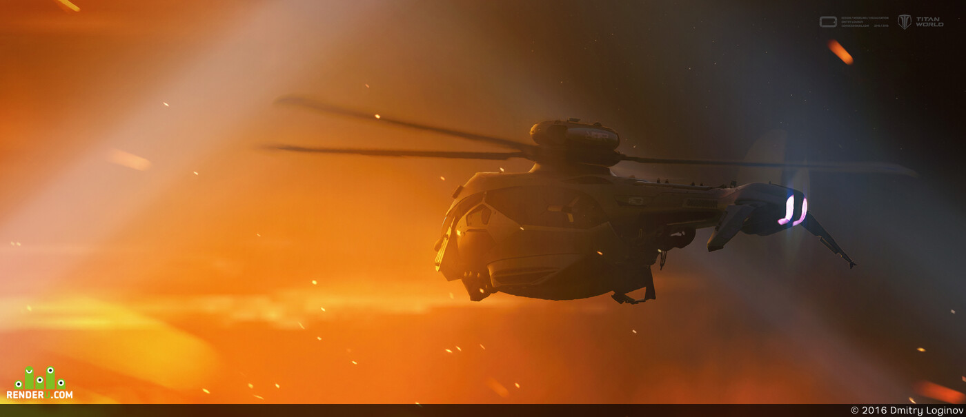digital, Concept Art, game art, weapon, helicopter, loginov, titan world, military transport, armor, scifi