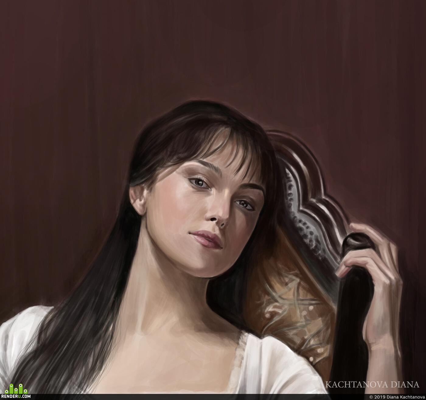 Кира Найтли, Актриса, портрет, арт, дигиталарт, фотошоп, иллюстрация, Гордость и предубеждение, английская литература, классика