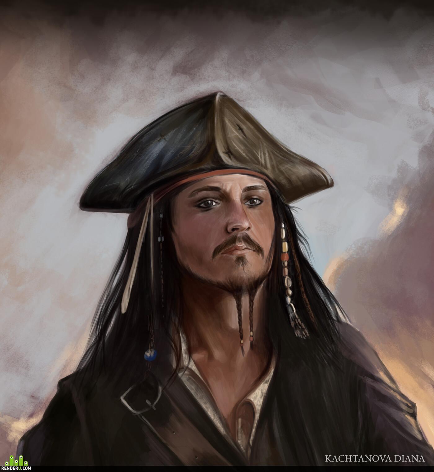 Джек Воробей, Пираты Карибского моря, Джонни Депп, актер, Концепт-арт, дигитал арт, фотошоп, портрет, иллюстрация