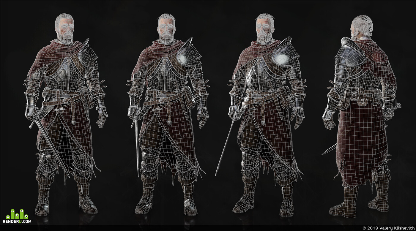knight, Dark Souls, medieval, swor, warrior, fantasfantasy, character, low poly