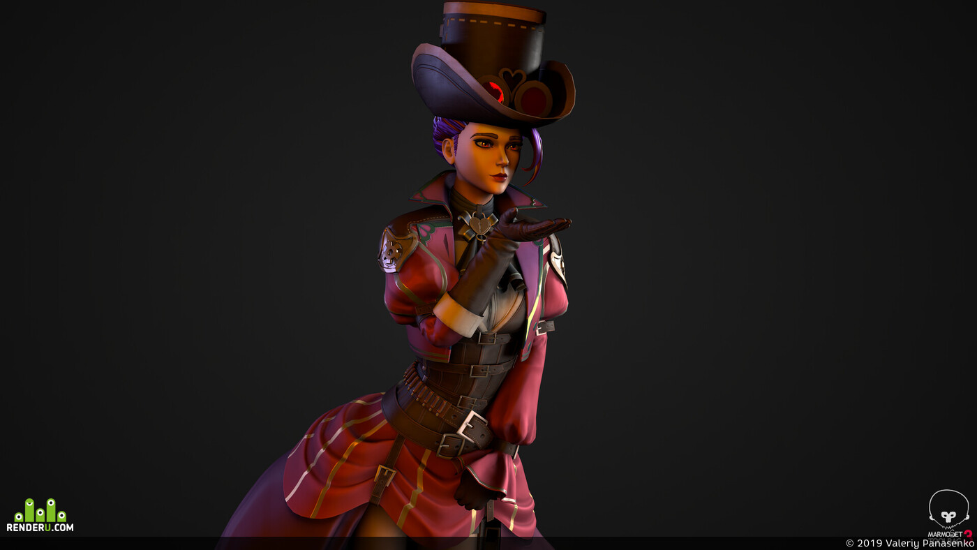 3d, steampunk, girl, character, 3d character, character3d, stylized, Overwatch, ZBrush