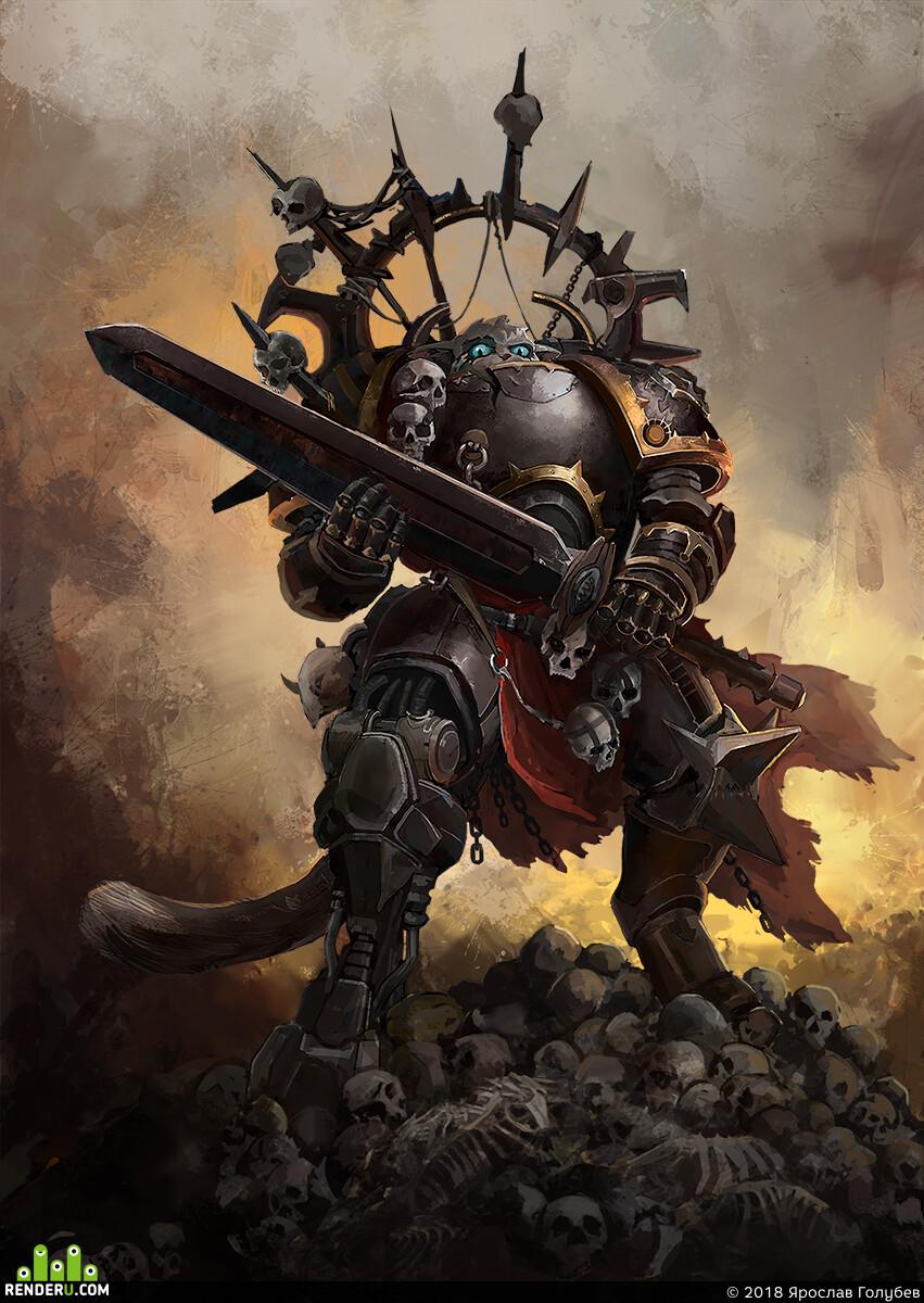 Digital 2D, Characters, fantasy, illustration, Warhammer, 40000, meow, cat, chaos