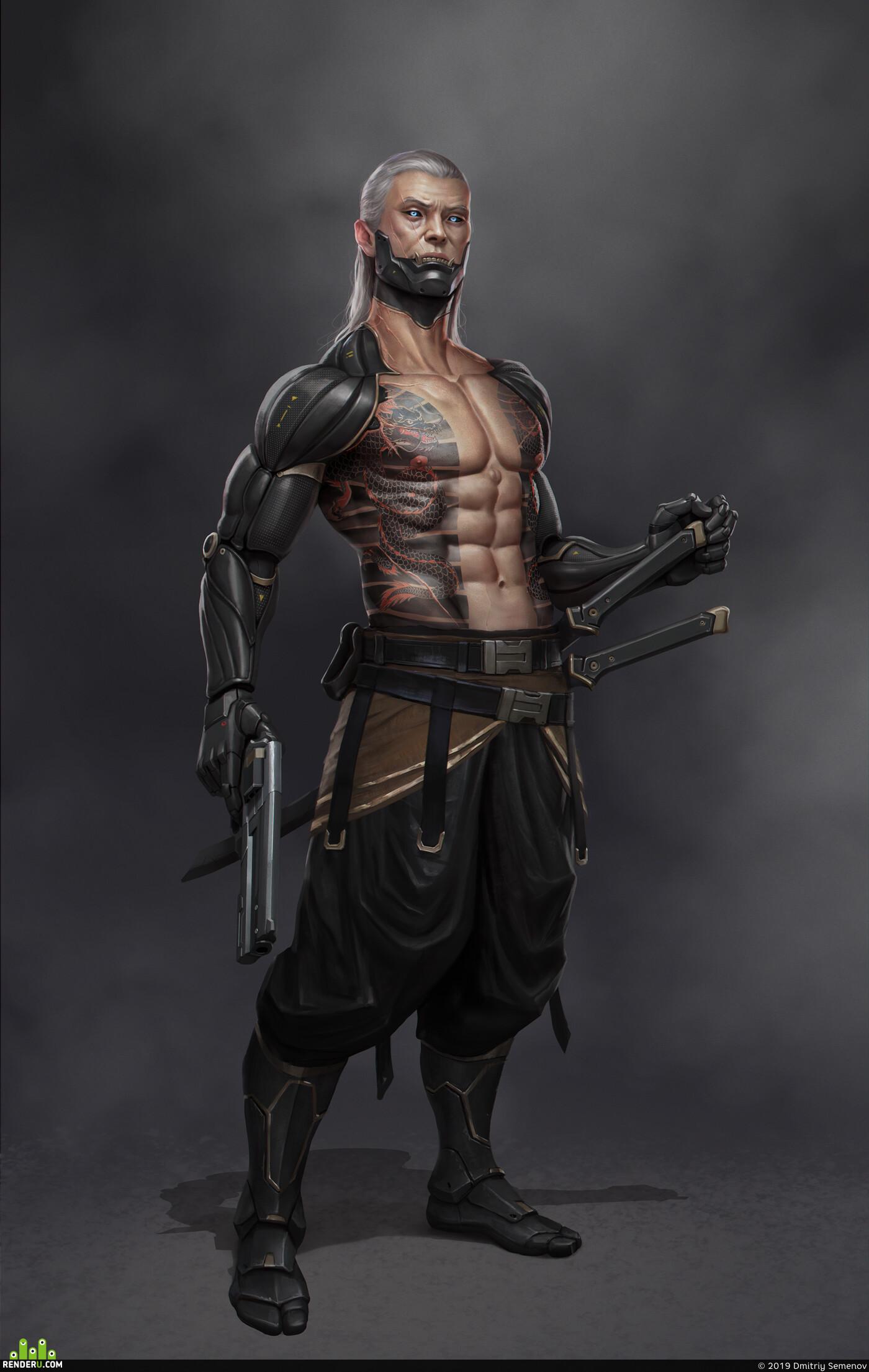 cyborg, sci-fi, pirate, guns, swords