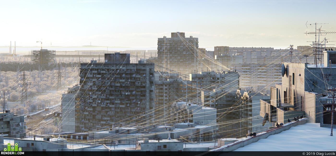 Exterior, city, winter, concrete, block, corona, 3ds Max