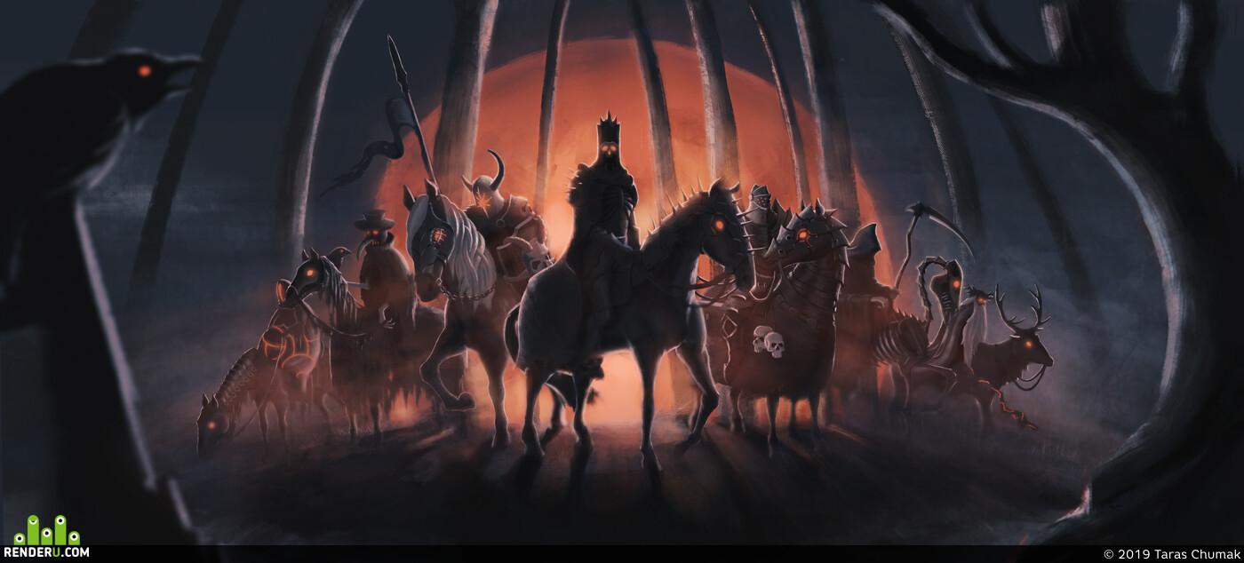 illustration, Dark fantasy, Ghost rider, Digital 2D