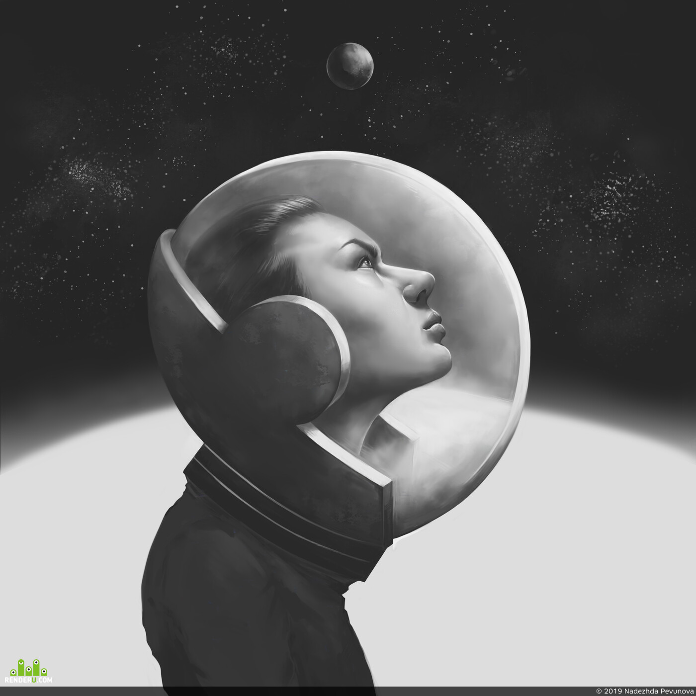 girlportrait, Portrait, spacegirl, constellation, planet, astronaut, illusrtation, Astro, Space, DIGITALDRAWING