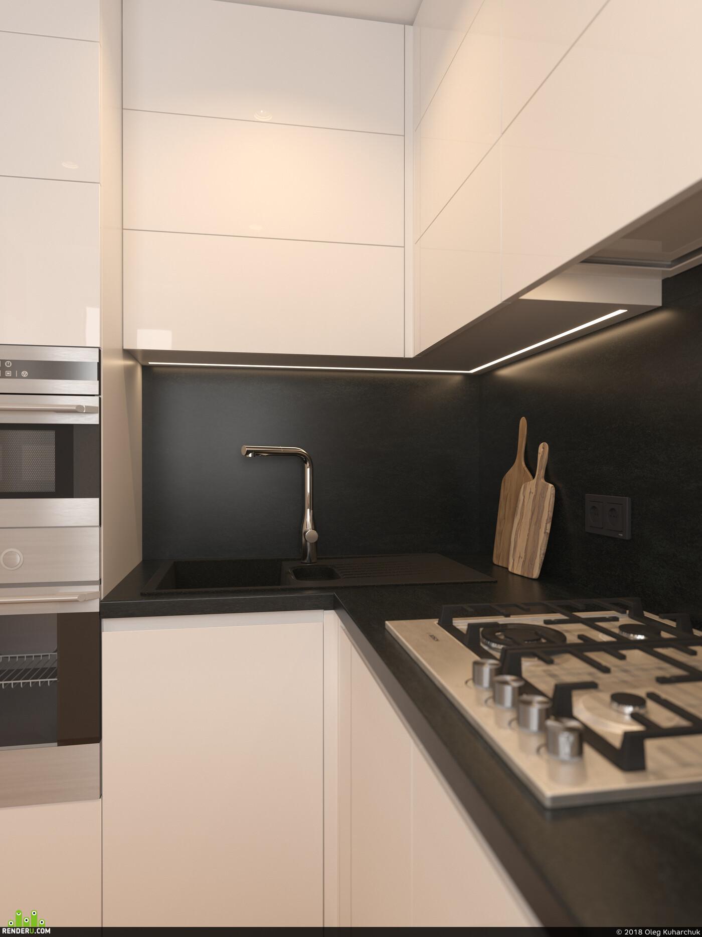дизайн, дизайн интерьера, дизайн кухни, кухня, глянец, шпон дуба, дуб